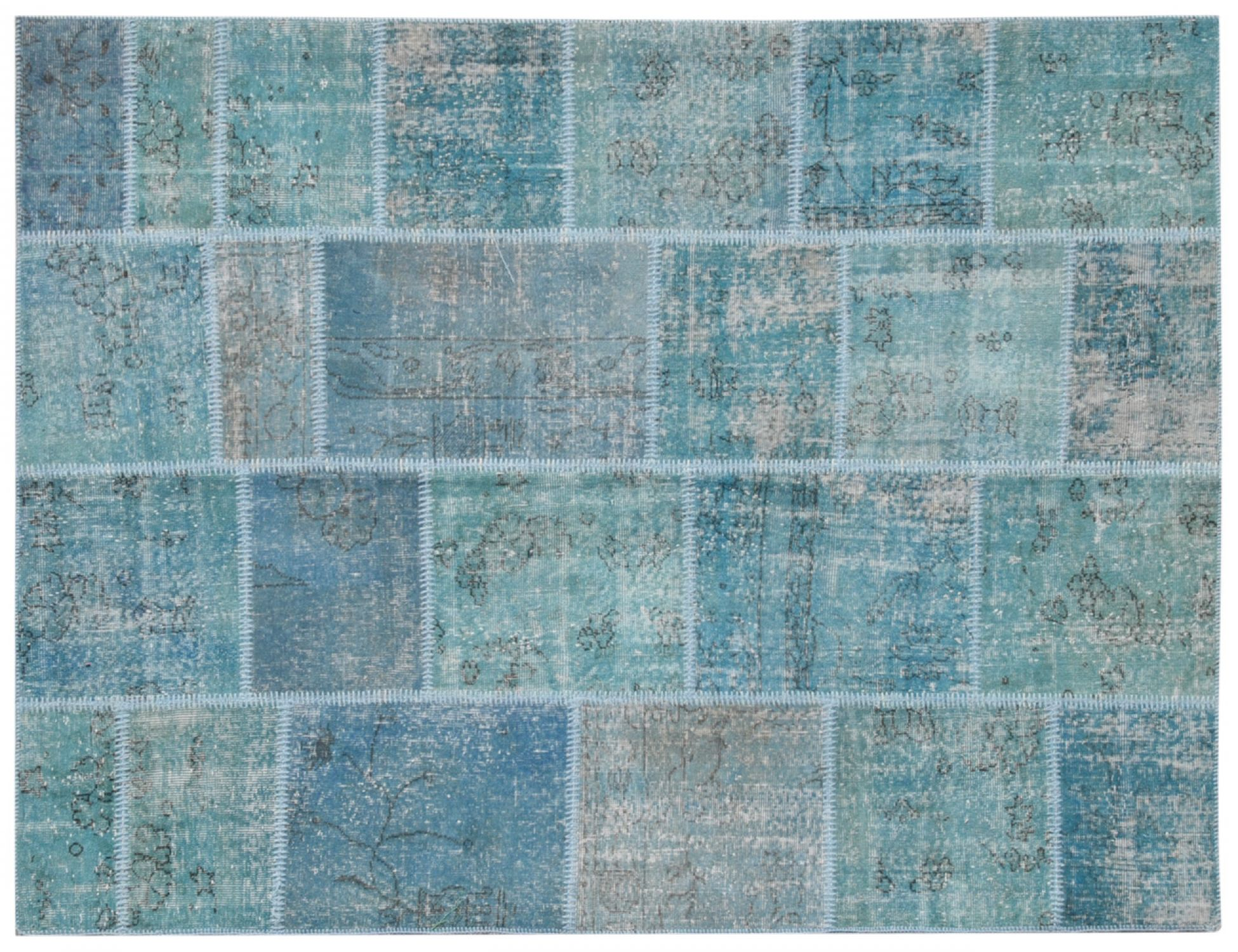 Patchwork Carpet   blue <br/>240 x 170 cm