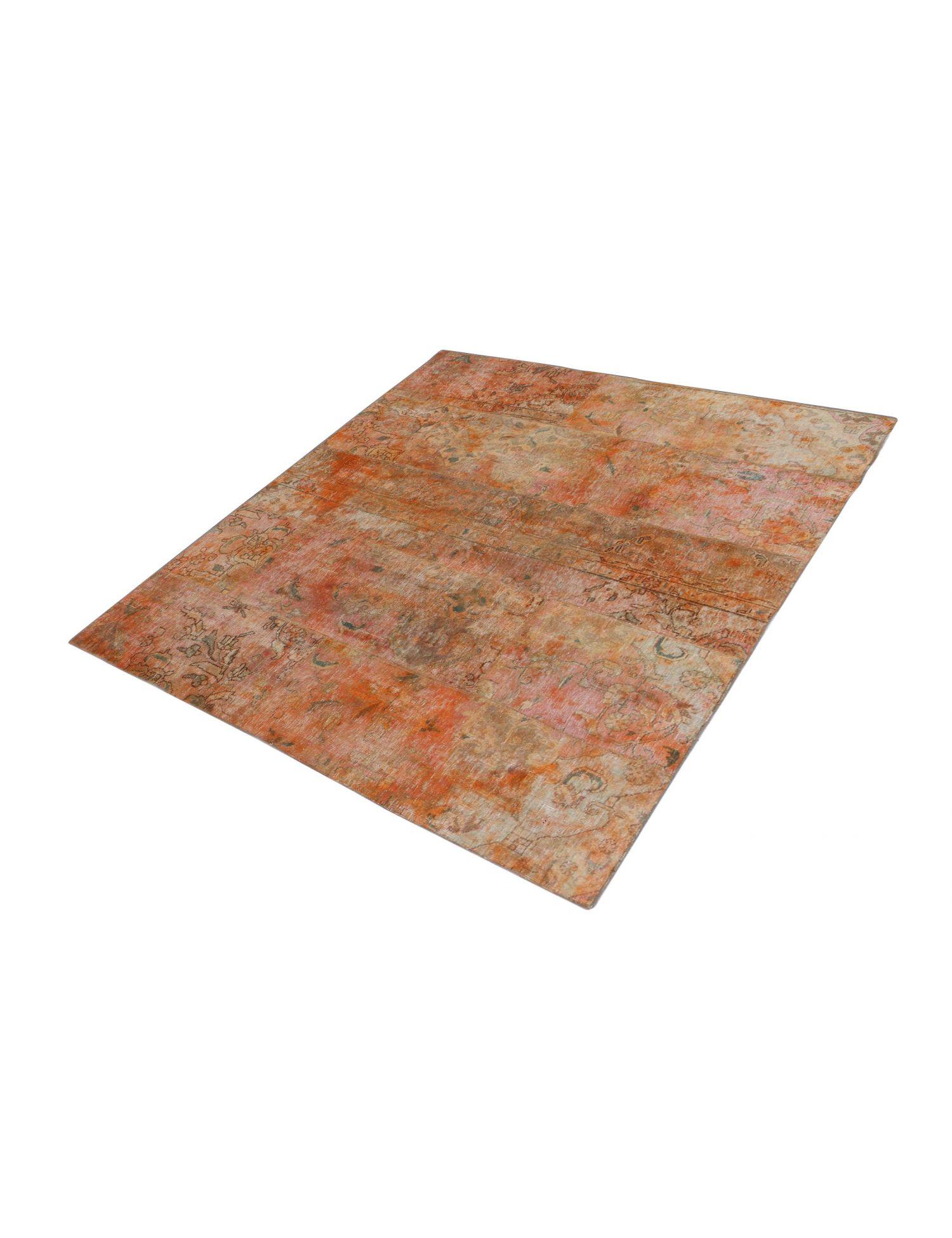 Persisk patchwork tæppe  orange <br/>206 x 206 cm