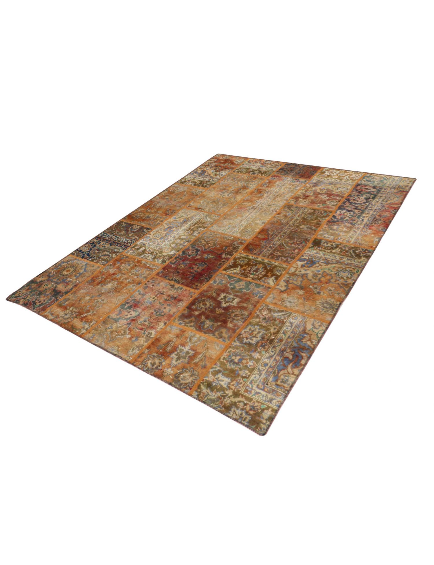 Patchwork tæppe  brun <br/>246 x 173 cm