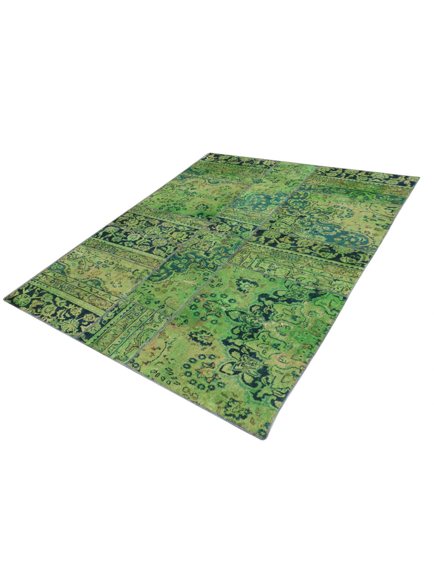 Patchwork tæppe  grøn <br/>231 x 150 cm