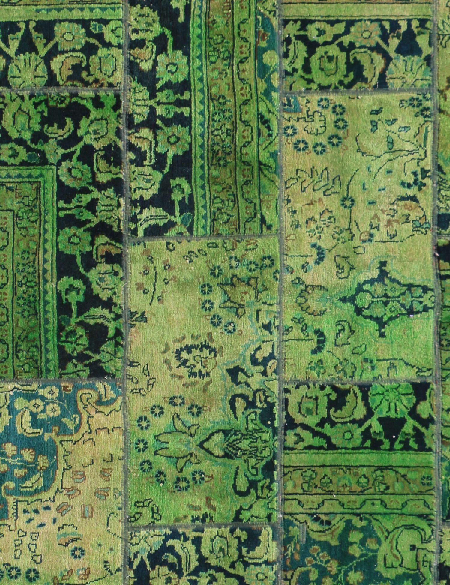 Patchwork Carpet  green  <br/>246 x 178 cm