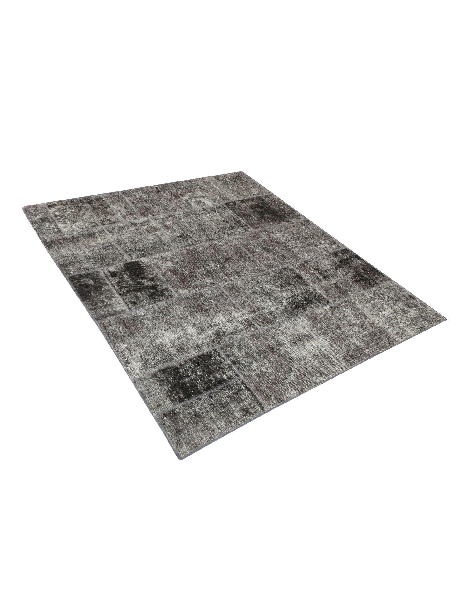 Patchwork Teppich  schwarz <br/>200 x 174 cm