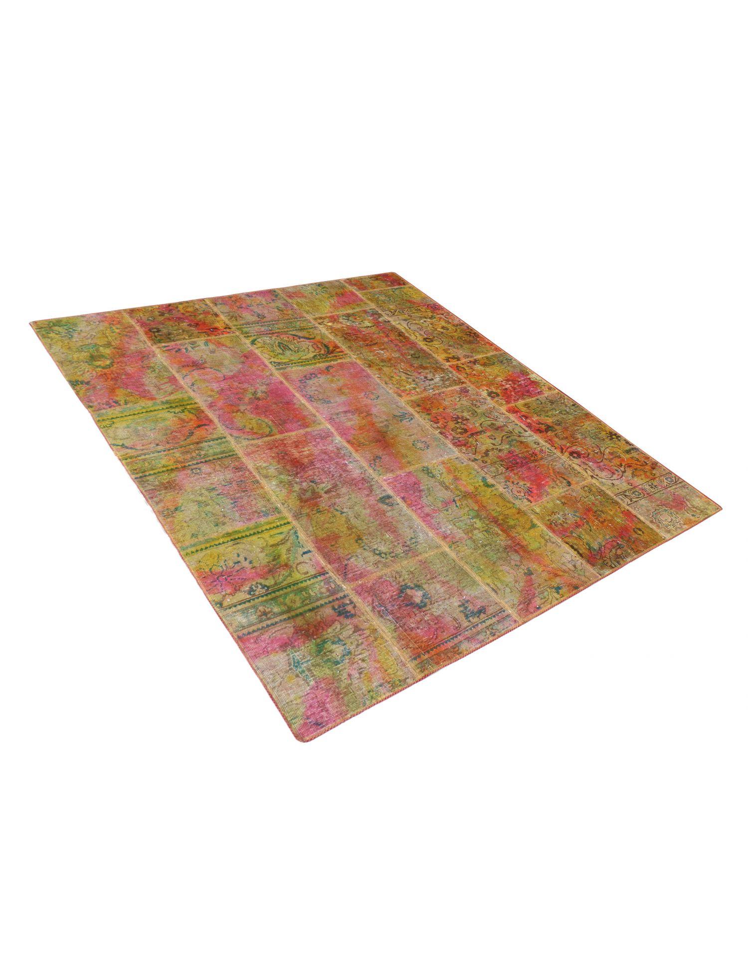 Persisk patchwork tæppe  rose <br/>210 x 177 cm