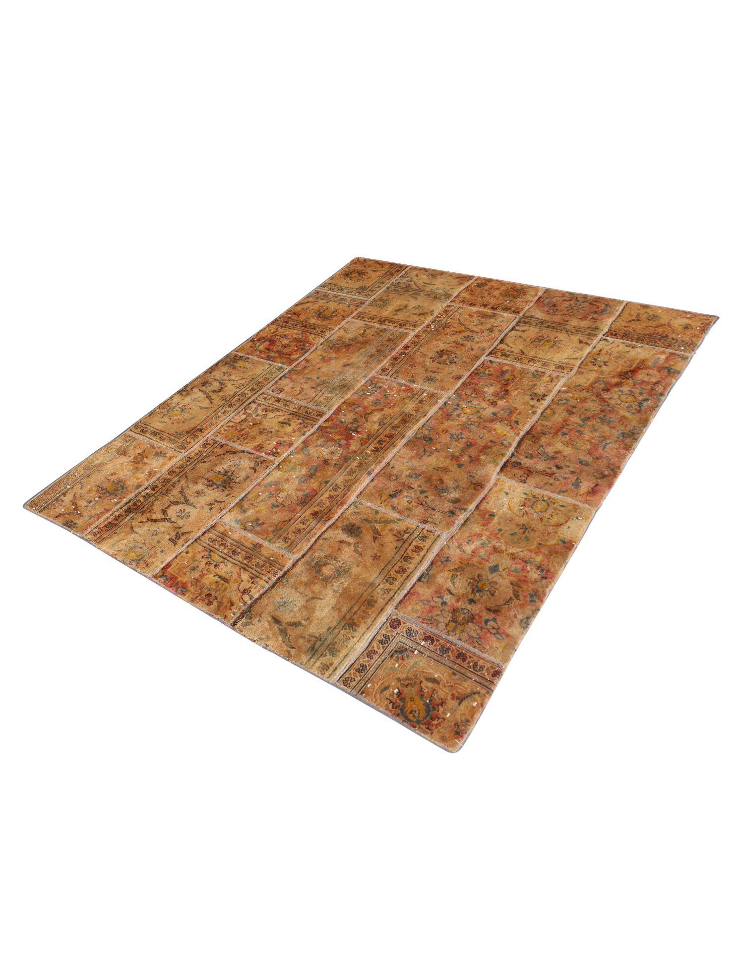 Patchwork tæppe  brun <br/>243 x 173 cm