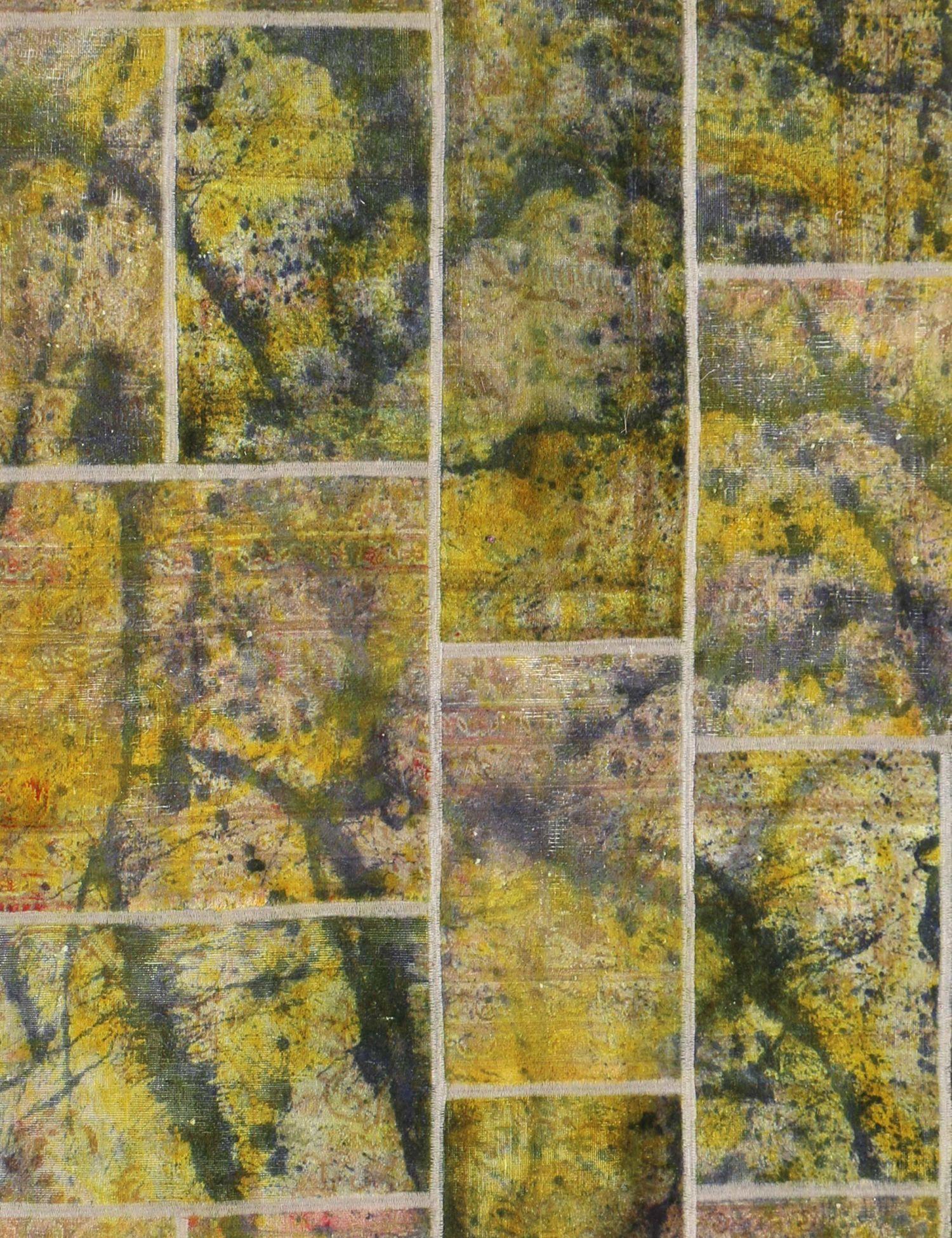 Patchwork Teppich  gelb <br/>255 x 172 cm