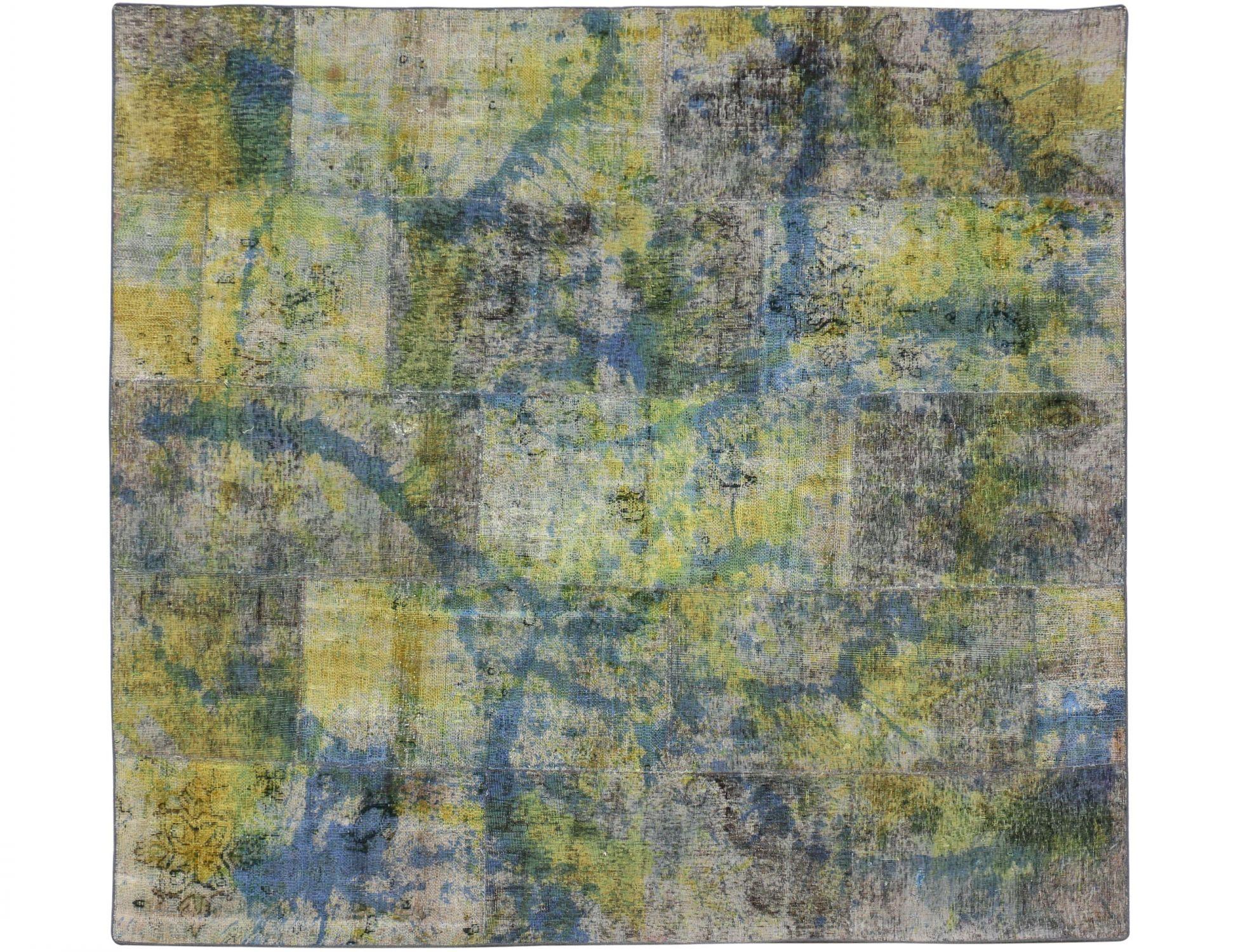 Persischer patchwork  Teppich  grün <br/>250 x 220 cm