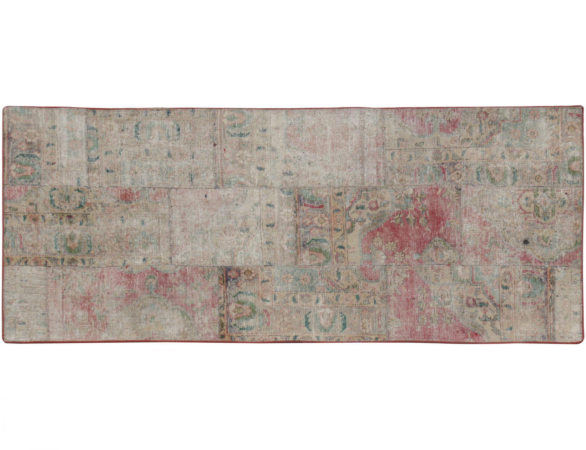 Persisk patchwork tæppe  beige <br/>200 x 90 cm