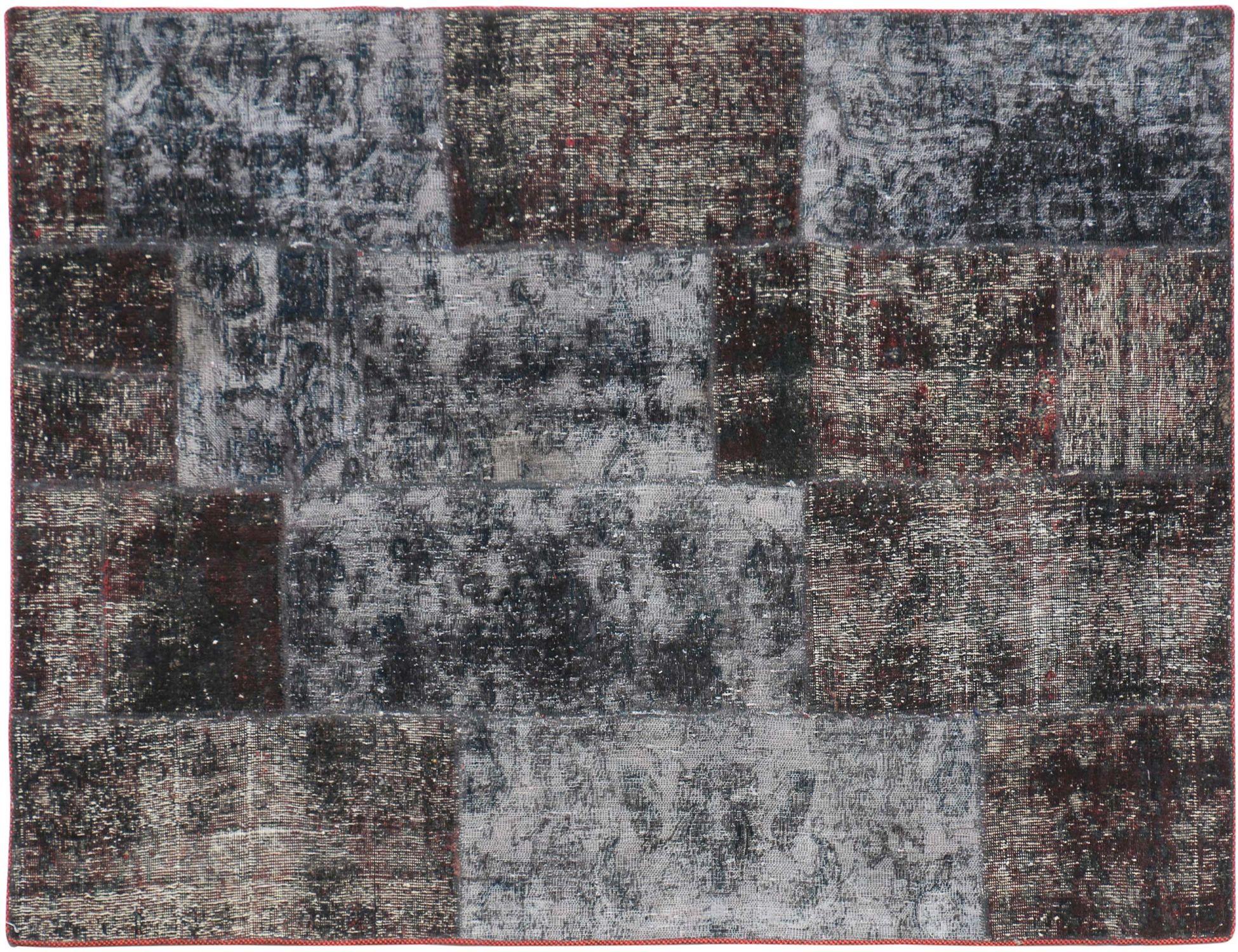 Persisk patchwork tæppe  sort <br/>210 x 123 cm