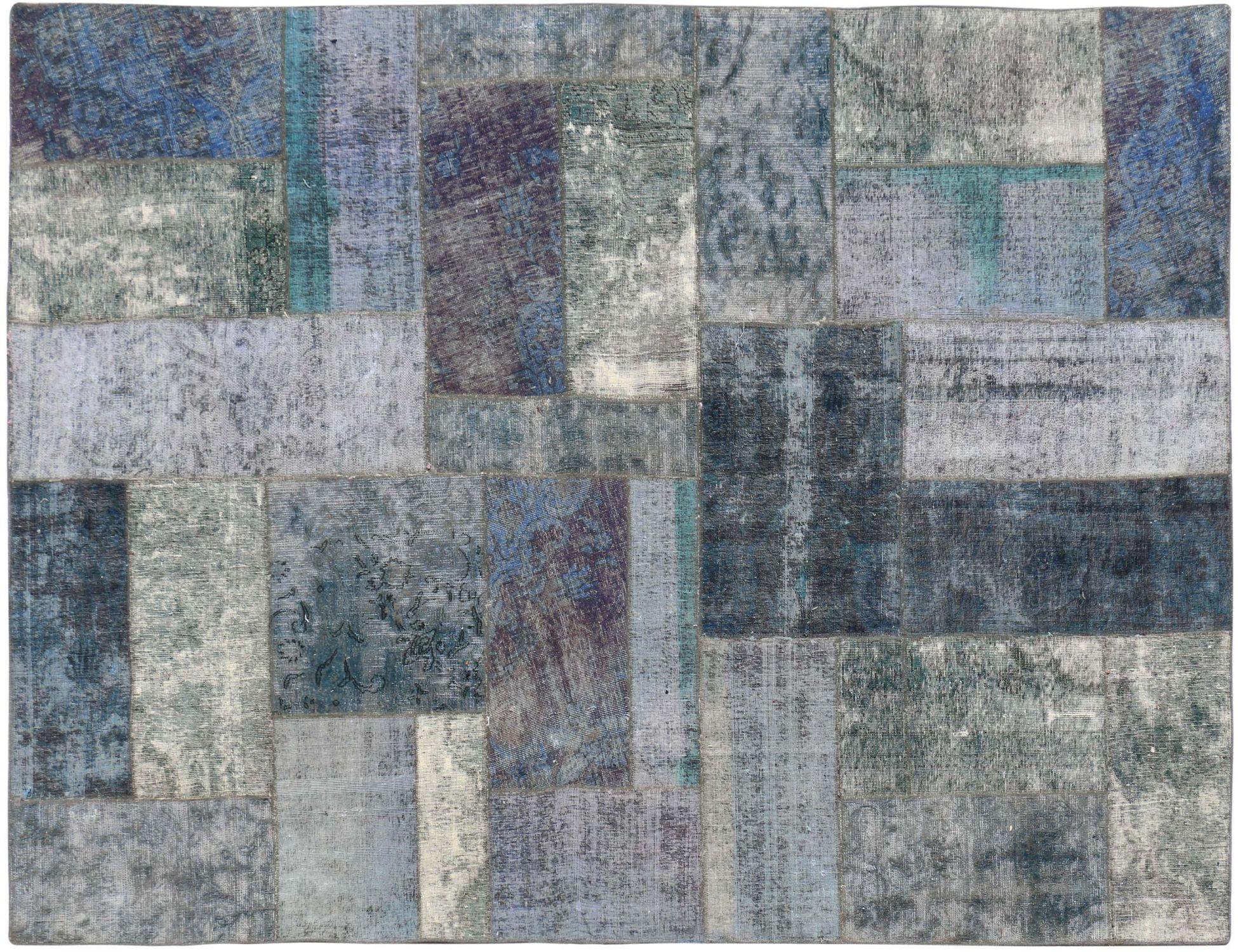 Persisk patchwork tæppe  blå <br/>313 x 210 cm