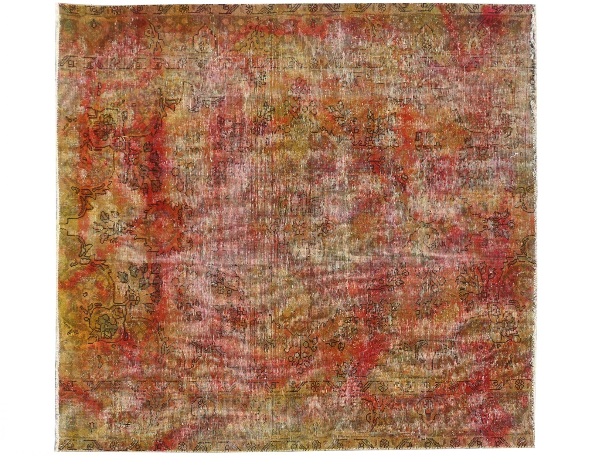 Vintage Tapijt  geel <br/>221 x 223 cm